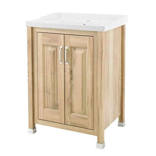 Rockingham Natural Walnut 600mm 2 Door Cabinet & Basin